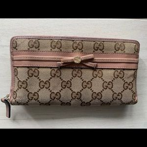 Gucci women's wallet cream and pink